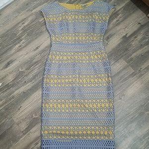 Asos midi dress crocheted overlay blue and…